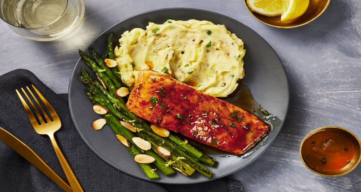 Lemon-Butter Trout with Asparagus Amandine and Horseradish Potato Mash